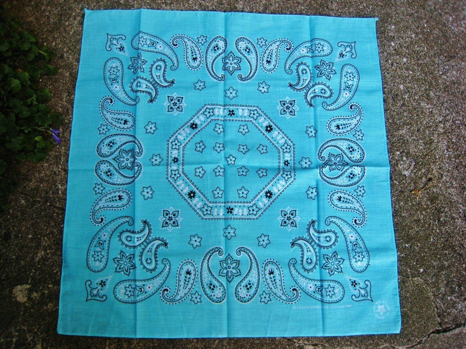 Bandana amÉricain foulard vintage bleu des mers du sud motif paisley 56 cmx53 cm
