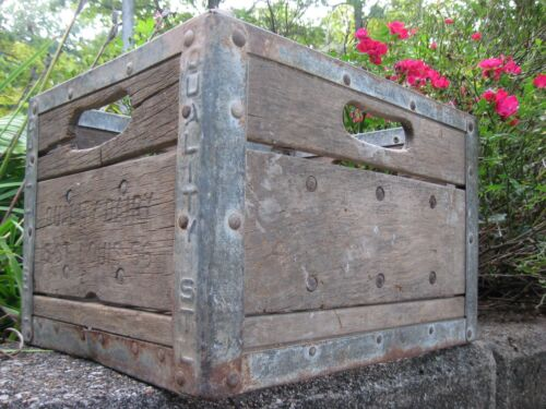 Vintage St. Louis Missouri Quality Dairy Wood Milk Bottle Crate