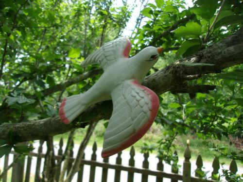 OLD POTTERY WHITE GARDEN DOVE W/PINK ACCENTS VINTAGE BIRD BATH CLIP/CLIP BIRD