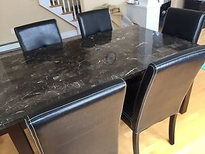 Granite 7 pieces dinning table set like new
