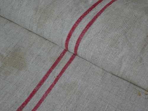 Antique European Feed Sack GRAIN SACK Red Stripe # 9413