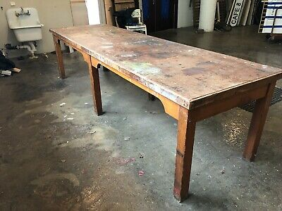Vintage University of Minnesota Art Department Distressed Studio Work Table
