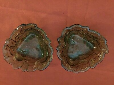 Set of Two Avocado Green Indiana Glass Loganberry Bowls