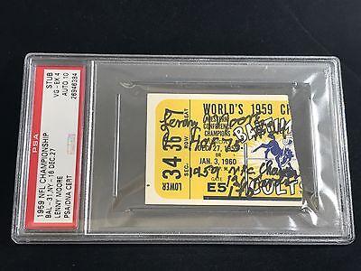 1959 NFL CHAMPIONSHIP GAME COLTS SIGNED TICKET LENNY MOORE PSA/DNA HIGHEST GRADE