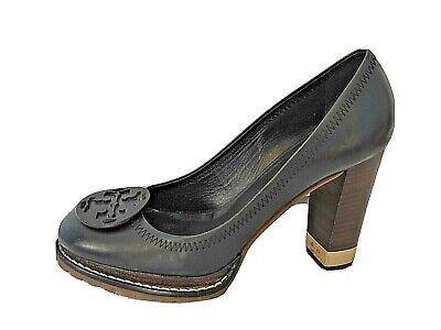 Tory Burch Black Leather Logo Pumps Shoes size 8