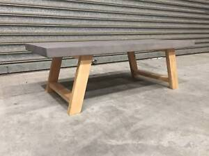 - CONCRETE AND AMERICAN OAK COFFEE TABLE- NEW - Richmond Yarra Area Preview