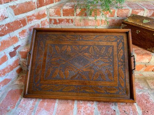 Antique English Hand Carved Dark Oak Wood Serving TRAY Coffee Tea Dessert