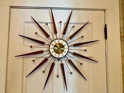 "Vintage Elgin Large 30"" Mid Century Modern Atomic Sunburst Starburst Wall Clock"