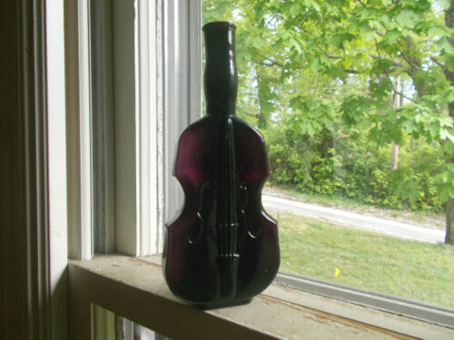"RARE DARK VIOLET PUCE VIOLIN FIGURAL BOTTLE HAND BLOWN 7 1/8"" RICH DEEP COLOR!"