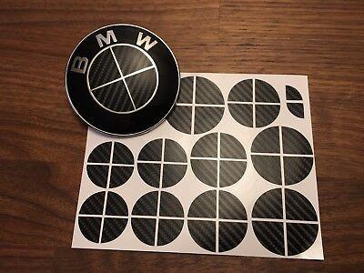 BLACK CARBON FIBER Complete Set of Vinyl Sticker Overlay All BMW Emblems