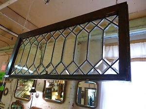 Antique Stained glass, Clear Beveled glass transom window.  Arts & Crafts style