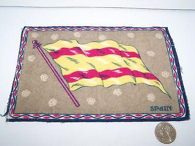 """c.1915 SPAIN FLAG FLANNEL CIGARETTE PACK TOBACCO FELT ANTIQUE 8.25"""" x 5.5"""""""