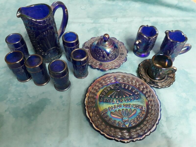 "CARNIVAL GLASS MINI ""GOD & HOME""  TABLE SET (1991) DOROTHY TAYLOR - RARE 14 PCS"