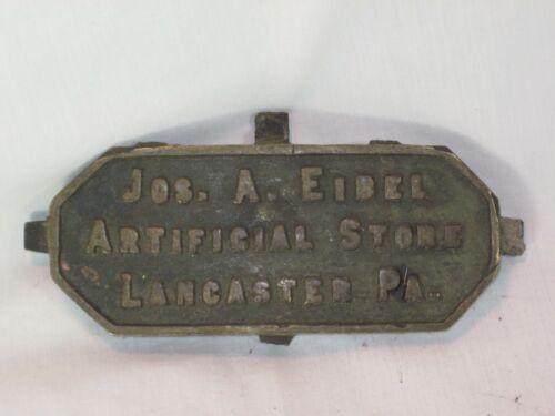 vintage antique metal sign plaque Eibel Artificial Stone Lancaster marker plate