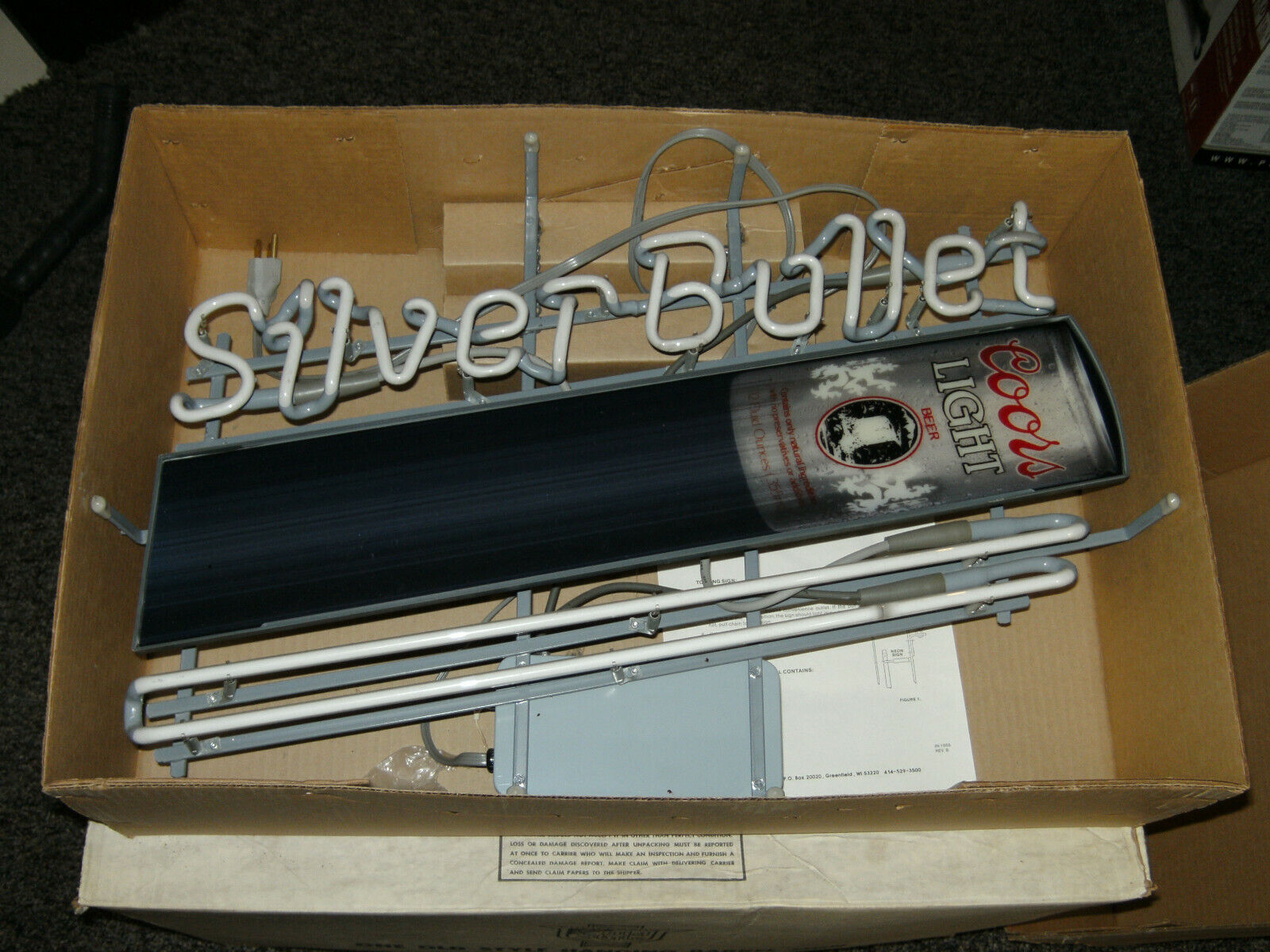 Vintage Coors Light Beer Silver Bullet Flying Can Neon Bar S