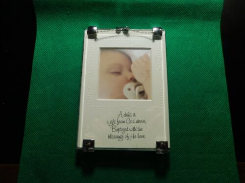 BAPTISM BLESSINGS PICTURE AND CROSS ON CHAIN FRAME!  a857UXX