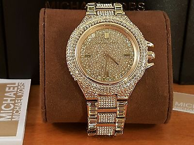 Brand New Michael Kors MK5720 Camille Gold Tone Pave Glitz Ladies Watch
