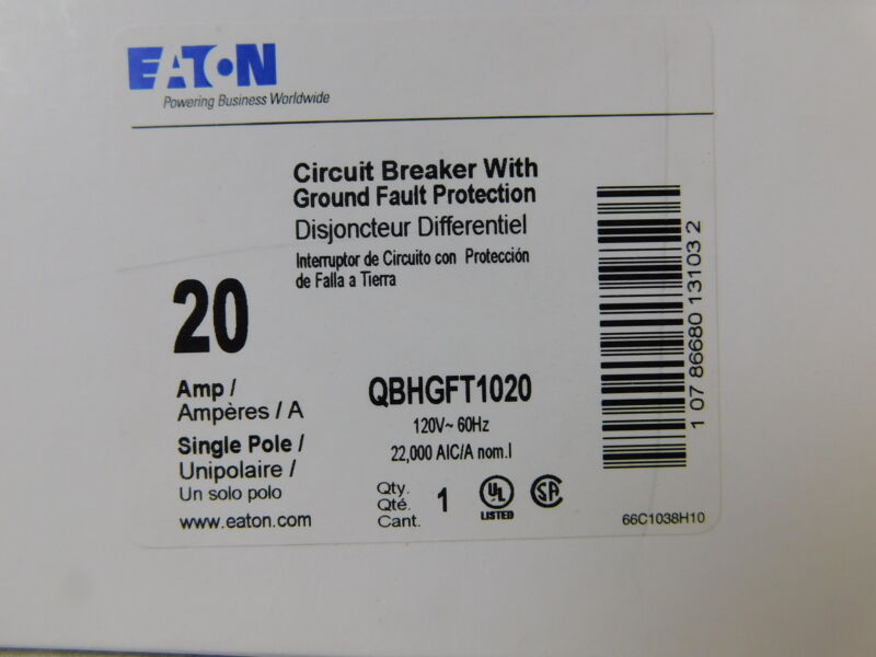 Eaton NSB QBHGFT1020 Ground Fault QBHGF 1P 20A 120VAC 60Hz