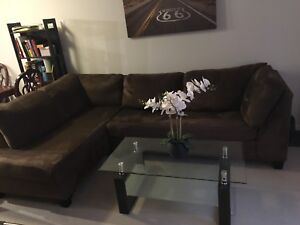 Brown sectional with a pull out bed