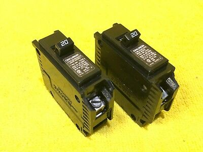 New Lot Of 2 Challenger C120 1-pole 20 Amp Plug In Breaker Minor Chip