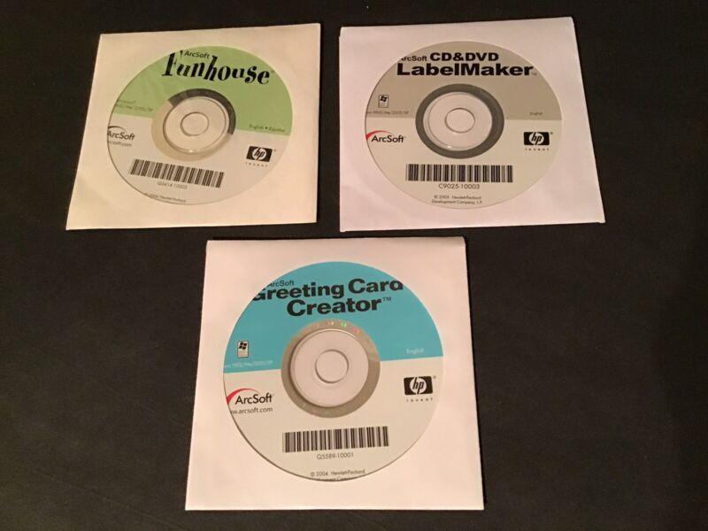 ArcSoft Software ~Lot of 3 ~ Funhouse CD & DVD LabelMaker Greeting Card Creator