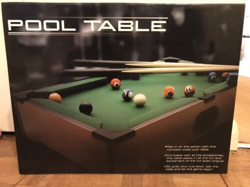 Mini Wooden Table Top Pool Game Set with 2 Mini Cues, 15 Balls, Chalk, Brand New