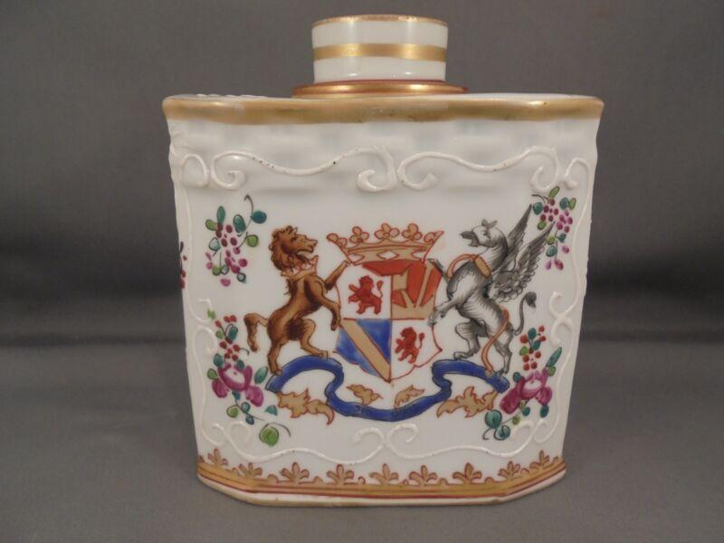 Antique Edme Samson France Porcelain Armorial Tea Caddy Chinese Export Style