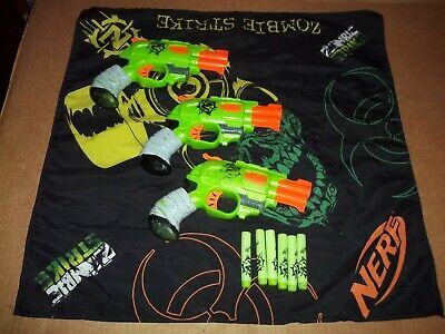 Nerf Zombie Strike Lot of 3 Double Strike Dart Guns,  w/ 6 darts and (1) bandana