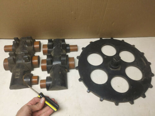 vintage wood foundry casting pattern mold forms (2) sprocket & manifold Dempster
