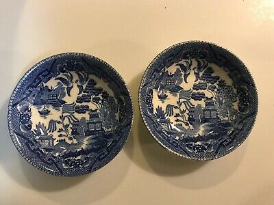 "Kakusa China Occupied Japan Blue Willow 5"" Bowls Pair Japan China Blue Willow"