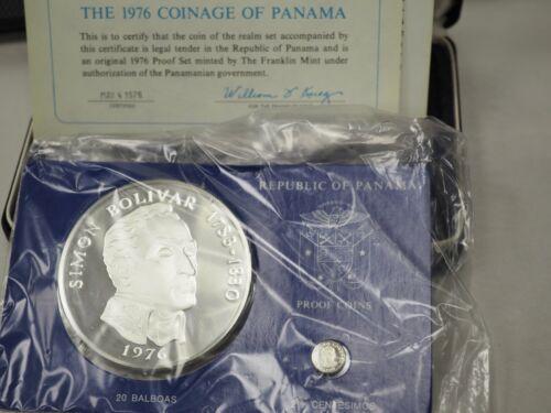1976 Panama 20 Balboa & 2 1/2 Centesimos Silver Proof Coin Set w/Box & COA!