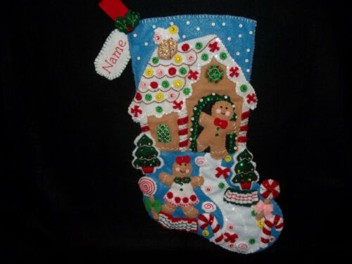 """Gingerbread Dreams - Christmas Felt Stocking Finished Completed Lined 18"""""""