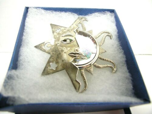 """VTG Sun & Moon Face Pin Brooch Holographic Stars Signed JJ  Silver Tone 3"""""""