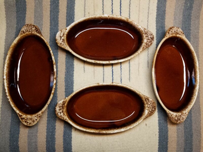 4 Vintage Hull Oven-Proof Brown Oval Baking Serving Au Gratin Casserole Dishes