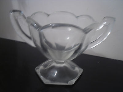 ART DECO SIX SIDED Glass Double Handled Trophy Bowl Dish LOVELY PRESENT SUPERB