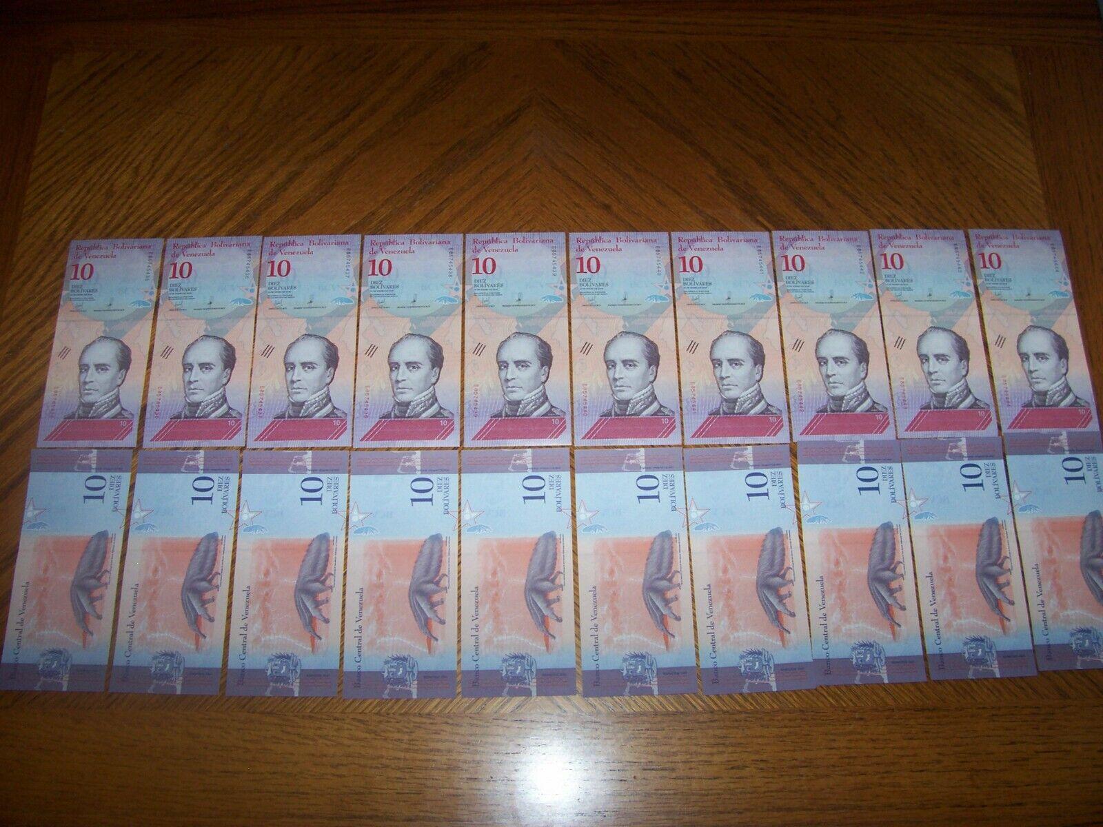 Lot Of 20 Pcs Bank Notes From Venezuela 10 Bolivares Uncirculated - $5.95