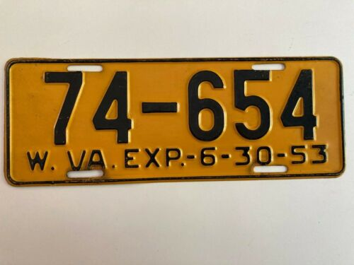 1953 West Virginia License Plate All Original Nice Condition