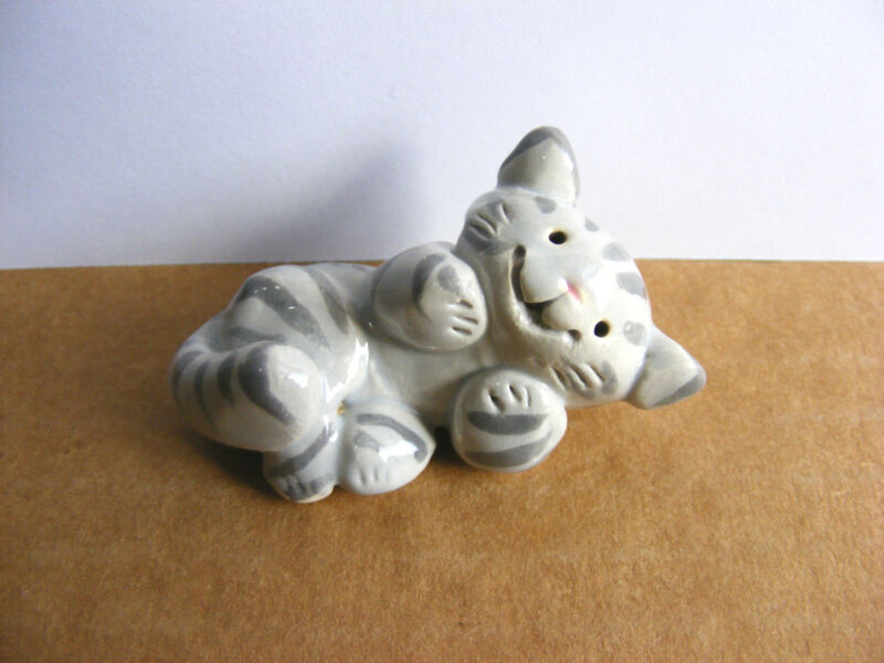 Little Guys Silver Tabby Cat Miniature Animal Figurine Cindy Pacileo Pottery