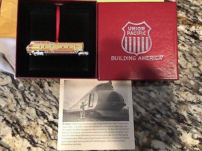 Rare Metal Union Pacific Railroad Train Locomotive Christmas Ornament - Train Ornaments