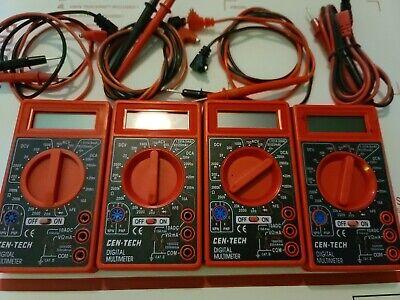 Lot Of 4 Cen-tech 7 Function Digital Multi-tester Multimeter 98025 Pre-owned