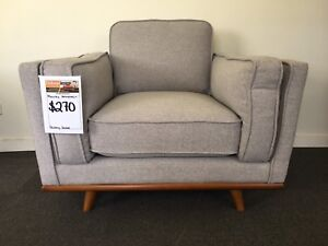 Comfy Light Grey Fabric Armchair - FACTORY SECOND Epping Whittlesea Area Preview