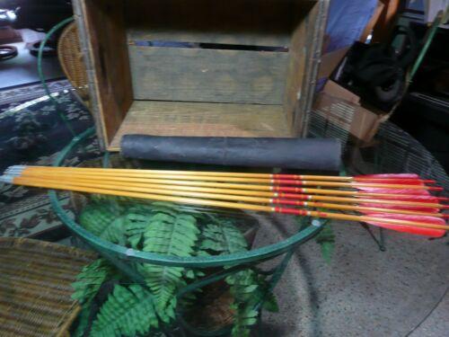 """6 BEAR Cedar Arrows 32 3/4"""" With Vintage BEAR Leather Quiver"""