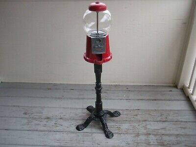 Vintage 1985 Carousel Gumball Machine Candy Coin-Op bank, with cast iron stand