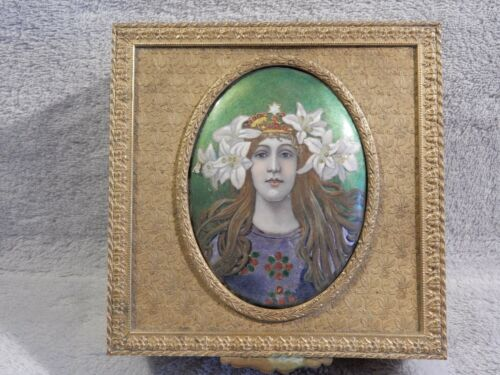 Antique European Bronze Jewelry Box with Hand Painted Miniature on Lid