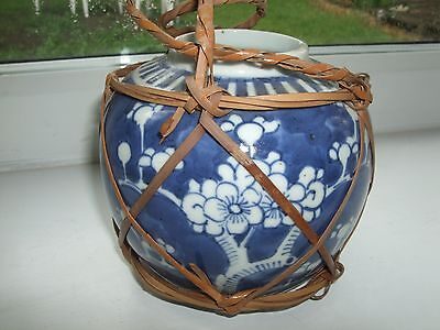 CHINESE OR JAPANESE ANTIQUE BLUE AND WHITE GINGER JAR