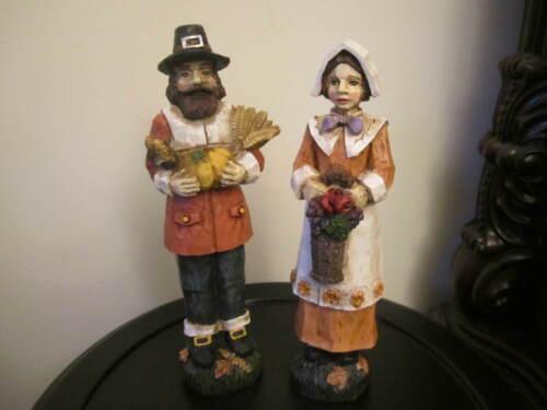 Thanksgiving Pilgrim Woman and Man Resin Figurines