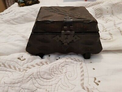 Vintage Carved wooden Tea caddy Box