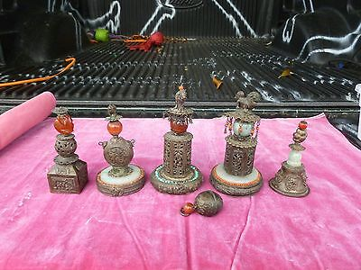 6 ANTIQUE CHINESE TIBETAN SILVER BUDDHIST ITEMS  W JADE, CARNELIAN AND TURQUOISE