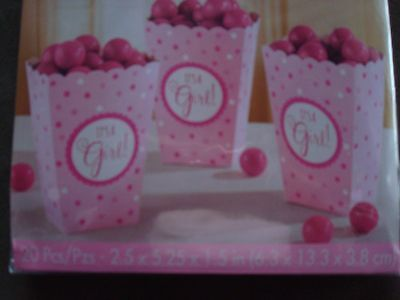 It's A Girl Popcorn Favor Boxes; Baby Shower Favor Boxes Pink; Ready to Pop them (Ready To Pop Popcorn Boxes)
