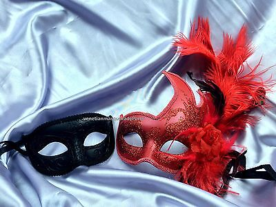 Pair Masquerade mask for date man and woman Halloween Costume Dress up Party - Couple Costumes For Halloween